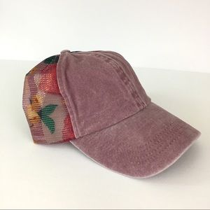 NWT Mudd Dusty Rose Floral Adjustable Baseball Hat